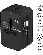 Adattatore da Viaggio,KOREY Adattatore Presa Spina Universale con 2 USB Adattatore All-in-one Caricatore,Alimentazione Caricatore Adatto Africane/Europee/Americane ect 180 Paesi (Nero,1pcs)