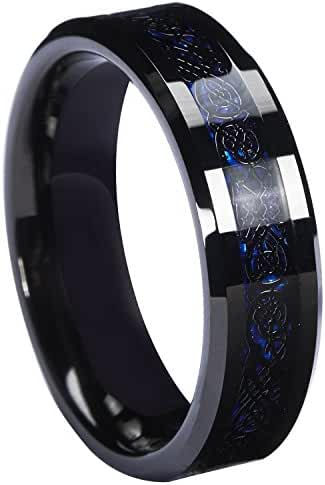 Queenwish 6mm Black Celtic Dragon Tungsten Carbide Ring Blue Carbon Fibre Weddig Band Jewelry Size 6-13