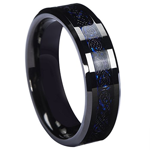 Queenwish 6mm Black Celtic Dragon Tungsten Carbide Ring Blue Carbon Fibre Weddig Band Size (Palladium Celtic Ring)