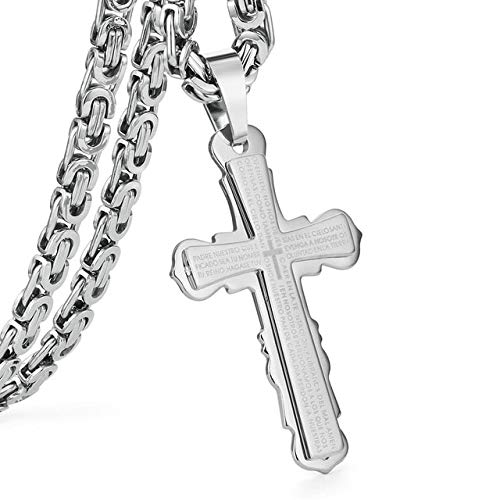 Metal Color: Steel Cross Necklace, Length: 65cm About 26inch Davitu Stainless Steel Pendant Necklace Black Silver Tone Bible Cross Strong Long Thick Link Byzantine Chain Gift for Men Jewelry MN66