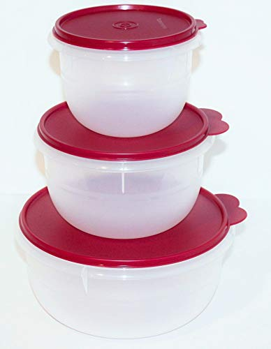 Vineyard Salad - Tupperware Set of 3 Classic Flat-Bottom Mixing, Salad, Dough Bowls with Liquid and Airtight Seals in Vineyard Bordeaux (purple/red) - 4, 8, 12 Cup Capacities
