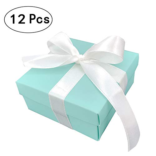 - Small Square Turquoise Candy Box Blue Wedding Favors Teal Gift Boxes with Lids and Silk Ribbon for Wedding Baby Bridal Showers Birthday Party Supply, 12pc (Aqua Blue)