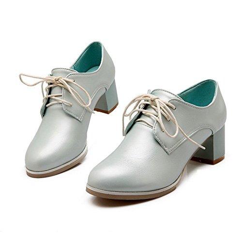 Balamasa Flickor Chunky Klackar Imiterade Läder Pumpar-skor Ljusblå