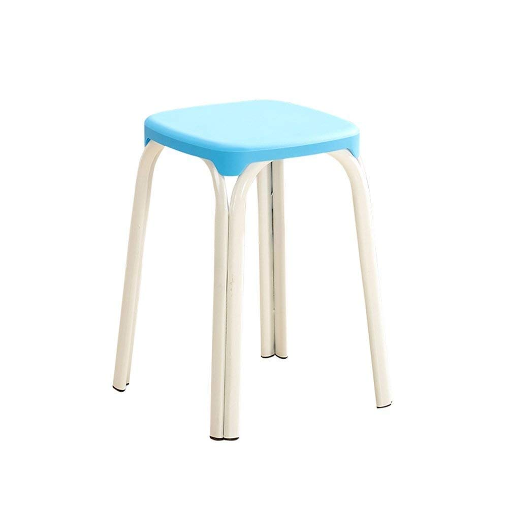 5 GJD Chair-Plastic Stool Padded Adult Household Dining Table Bar Stool Fashion Chair Modern Simple Living Room High Stool Home Convenient (color   8)