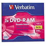 VER95003 - Verbatim DVD-RAM 9.4GB 3X Double Sided, Type 4 with Branded Surface - 1pk with Cartridge