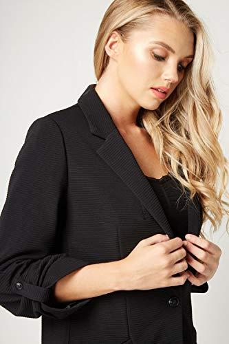 Simple Manches Automne Ample 4 Noir 3 Poches hiver Uni Femme Ajustée Bouton Blazer Originals Veste CôteléBureau Affiné Roman BrCxoed