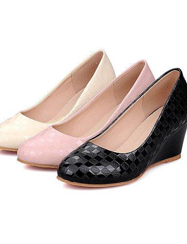 GGX/ Damenschuhe-High Heels-Kleid-Kunstleder-Keilabsatz-Absätze / Rundeschuh-Schwarz / Rosa / Beige pink-us9.5-10 / eu41 / uk7.5-8 / cn42