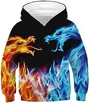 UIEIQI Boys Girls Hoodies 3D Hooded Sweatshirt Long Sleeve Hoody for Autumn Winter 6-16 Years
