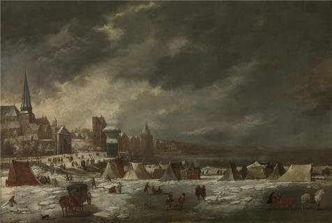 Oil Painting 'Jan Peeters I - The Frozen Schelde Of Antwerp, 1670' 24 x 36 inch / 61 x 91 cm , on High Definition HD canvas prints is for - Sunglasses Costa Clearance