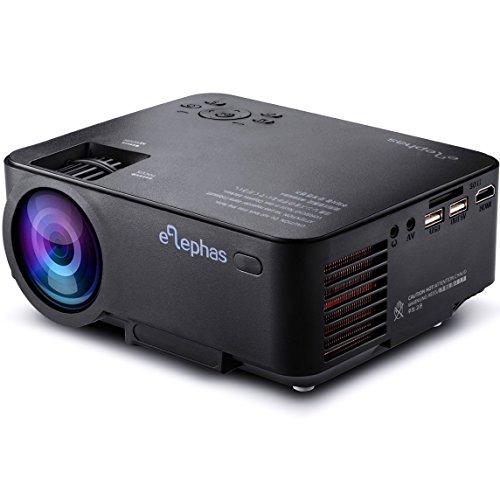 ELEPHAS 1500 Lumens LED Beamer Mini Tragbarer Multimedia LCD Projektor für Heimkino Unterhaltung Spiele Unterstützung 1080P HDMI AV VGA USB Audio Maximum 130