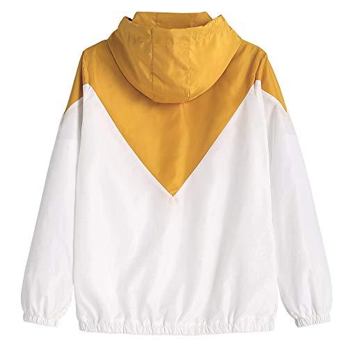 Chaqueta Informal Tejido Bolsillo ZAFUL Suelta de Manga Sudadera Camisa Patchwork Chaqueta con Amarillo con de Cremallera Capa de Doble Cordón Mujer con con Larga Delantero THyvqcRT