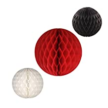 3-piece Set of Honeycomb Tissue Paper Party Balls (Caribbean - Red/Black/White)
