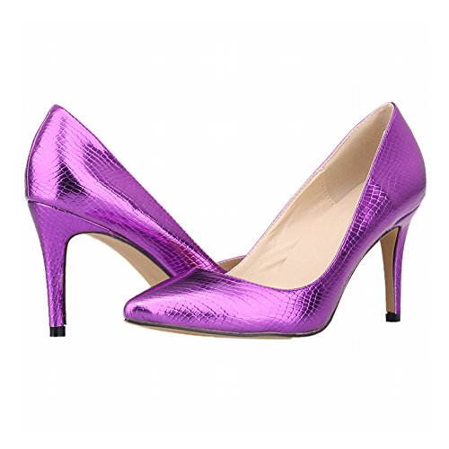 Zhuhaixmy Fashion Women Candy Color Crocodile Pattern Pointed Toe High Heels Pumps Shoes Purple AYWp0QvI