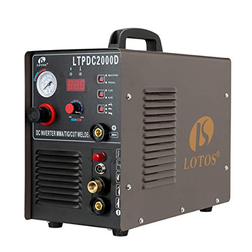 Lotos LTPDC2000D Non-Touch Pilot Arc Plasma Cutter/Tig/Stick Welder 3 in 1 Combo Welding Machine, Argon Regulator Included, ½ Inch Clean Cut, Brown