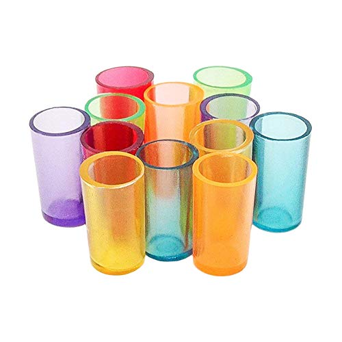 Odoria 1:12 Miniature 12PCS Multi Color Plastic Drinking Water Cups Dollhouse Kitchen Accessories