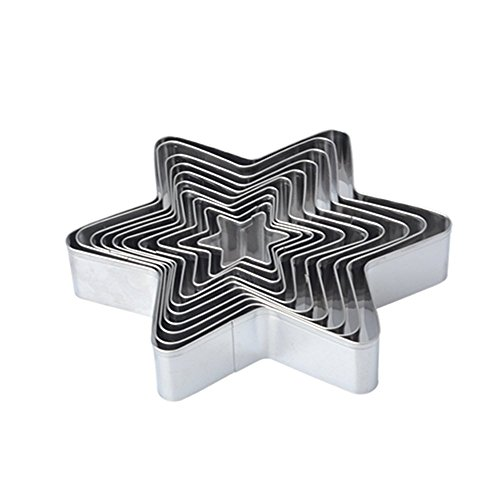 Antallcky Star Cookie Cutter Set-10 pcs Stainless Steel Six-pointed Star Biscuit Molds Fondant Cake Cookie Cutter Set Pastry Mold
