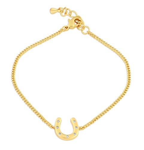 (ESCALIE Horseshoe Charm Bracelet 24K Gold Plated)