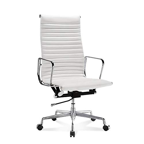 Chairs Office Designer Italian - LIVING TRENDS High-Back Ribbed Office Chair - Genuine Top Grain Italian Leather Aluminium Frame - White