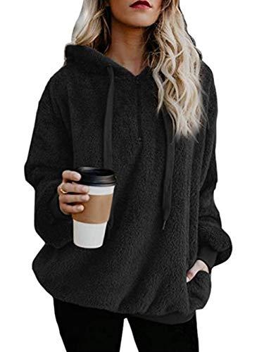 (Famulily Women's 1/4 Zip Front Fuzzy Warm Fleece Hoodies Long Sleeve Hooded Sweatshirt Tops Black 2XL)