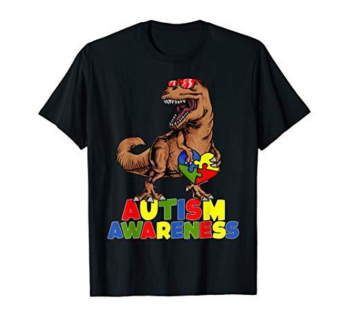 Autism Awareness Shirt Dinosaur Puzzle Piece Boys Men Kids