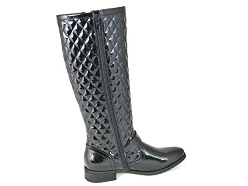WOMENS LADIES BLACK QUILTED WINTER FASHION BOOTS BUCKLE ZIP UP QUILT SIZE 3-8 Black Patent (B01)