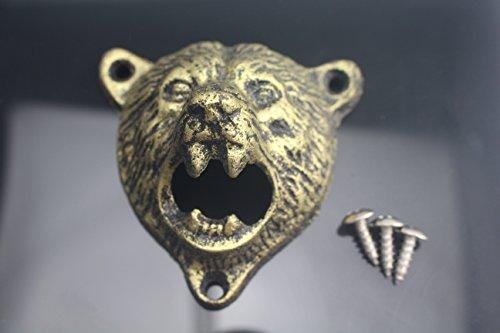 Tozz Pro ® Cast Iron Wall Mount Grizzly Bear Teeth Bite Bottle Opener (Gold Bear)