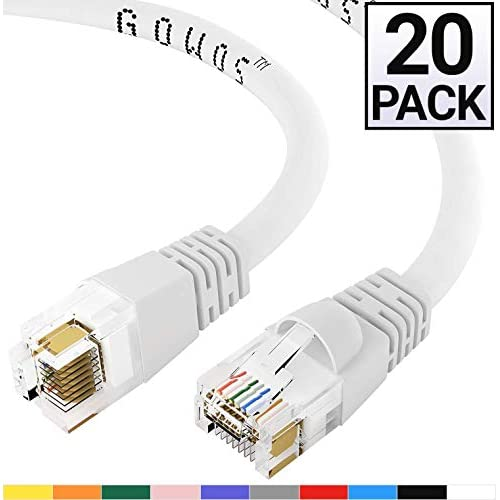 24AWG Network Cable with Gold Plated RJ45 Non-Booted Connector 550MHz GOWOS Cat6 Ethernet Cable 10 Gigabit//Sec High Speed LAN Internet//Patch Cable Gray 20-Pack - 3 Feet