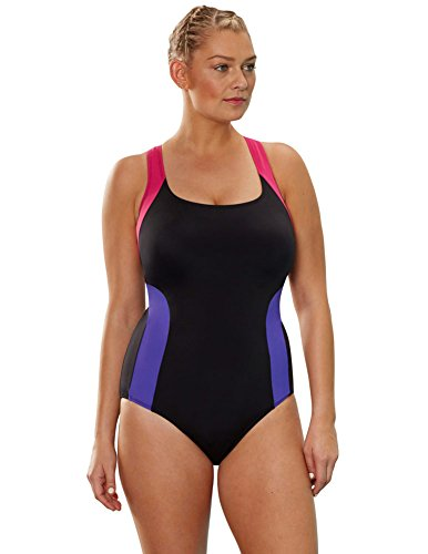 a7552ead94cbd Aquabelle Women s Plus Size Chlorine Resistant Freestyle V-Back Swimsuit 18  Multi