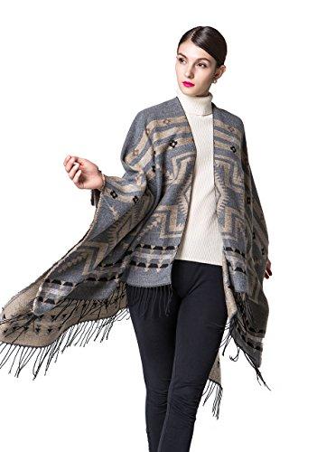 Loose Mexican Wool Poncho Shawl Cloaks Cape Wrap Kimono Cardigans Silver