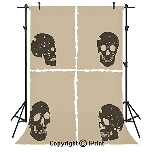 Grunge Photography Backdrops,Skull Figure on Murky Flat Framework Halloween Crossbones Spooky Monster Image,Birthday Party Seamless Photo Studio Booth Background Banner 6x9ft,Tan Dark Taupe -