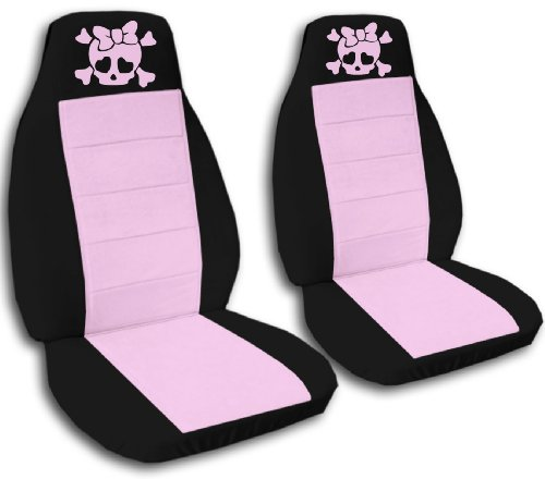 2 Black and Sweet Pink Girly Skull seat covers for a 2009 to 2011 Toyota Corolla. Side Airbag friendly. (Car Pink Cover Skull Seat)