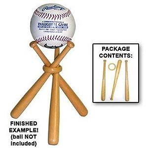 Miniature Natural Wood Crafted Baseball Bats Base Ball Display Stand Holder