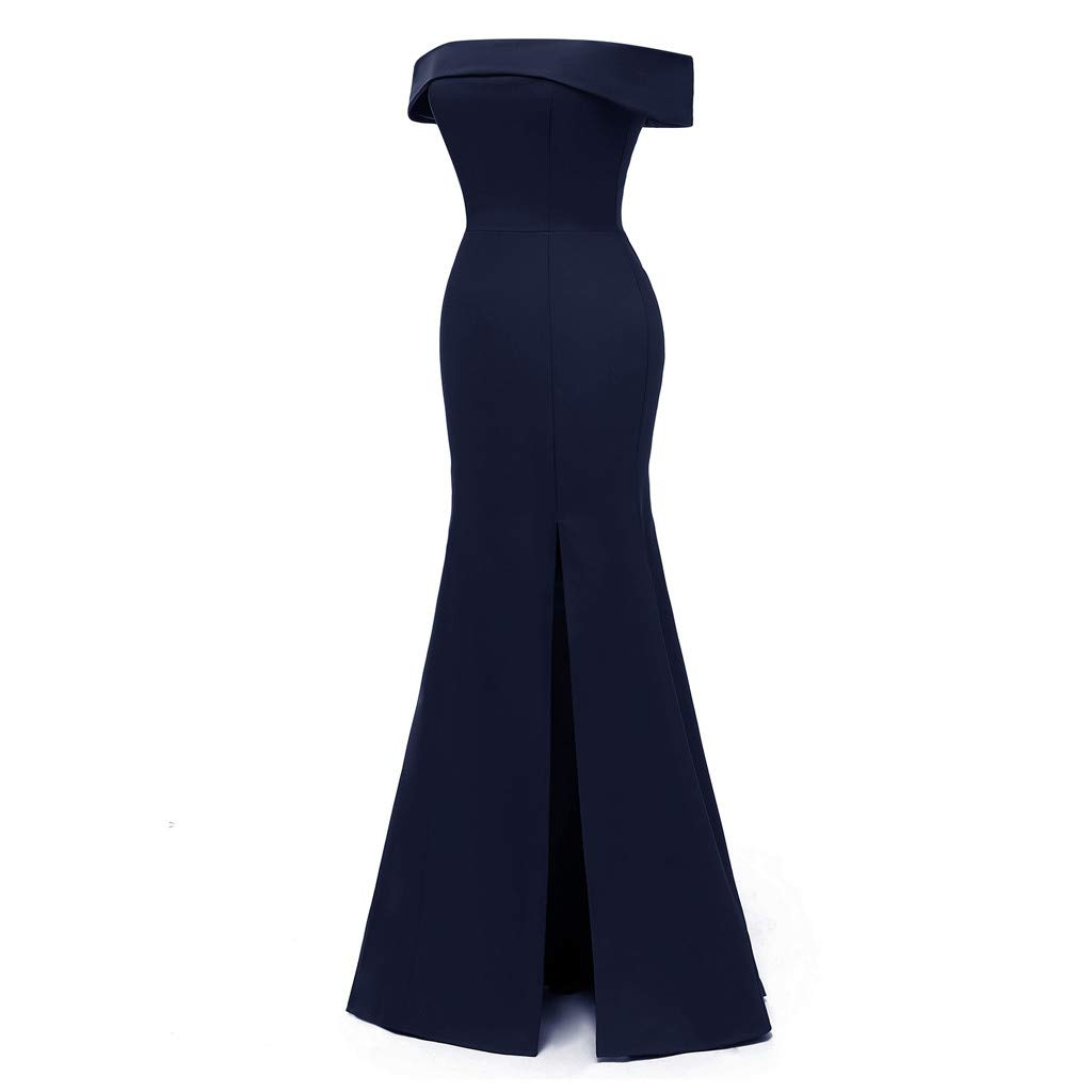 Long Maxi Dresses for Women Solid Off Shoulder Bodycon Split Evening Party Long Dress (Navy,S)