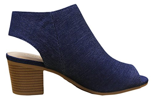 Denim Classified Peep Blue City Stacked Chunky Cutout Women's Heel Toe Bootie Harlyn PxdqUHdR