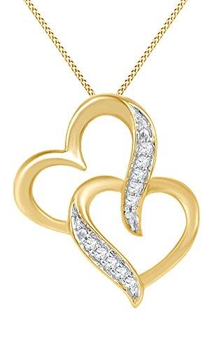 Jewel Zone US White Natural Diamond Accent Interlocking Heart Pendant Necklace in 10k Yellow Gold ()