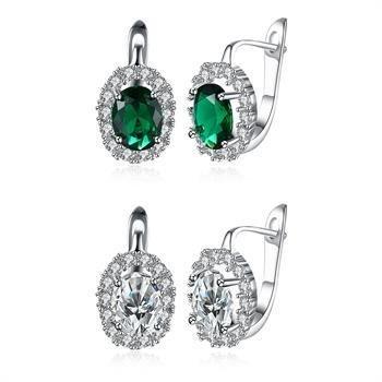 18k gold shining noble new fashion zirconium diamond round Shiershan green diamond ear clip earrings romantic style (Zirconium Round Earring)