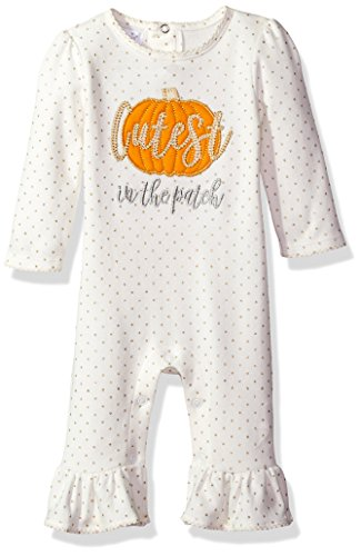 Mud Pie Baby Girls' Halloween Pumpkin Long Sleeve Ruffle One Piece Playwear, Orange, 9-12 MOS