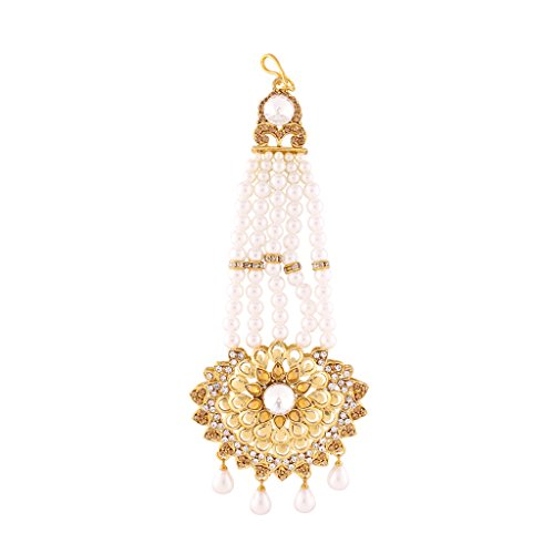 I Jewels Traditional Gold Plated Bajirao Mastani Inspired Pearl & Stone Passa Tikka for Women T1068LW (Gold) by I Jewels