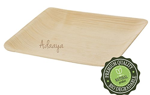 Disposable Plates- Heavy Duty & Eco Friendly - Better than Wood & Bamboo- Square Shape Size 8''-Made of Palm Leaf (8