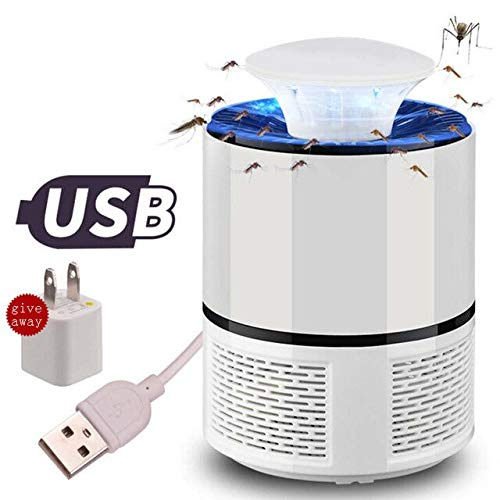 2 colors USB Photocatalyst Mosquito Killer Lamp Pest Control Electric Anti Trap Lamp Mosquito Trap Repeller Bug Insect Repellent   White with Adapter