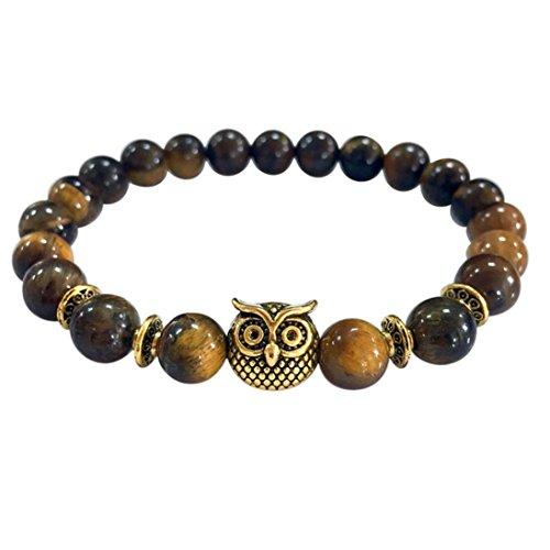 Willsa 8mm Mens & Womens Volcanic Lava Stone Bead Bracelets,Gold/Sliver Owl Bracelet (Gold Brown)