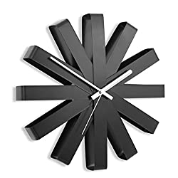 Wall Clocks Modern Ribbon Wall Clock, Stainless Steel Modern Simple Watch Living Room Board Room Creativity Wall Surface Decoration Wall Clock Clocks (Color : Black)