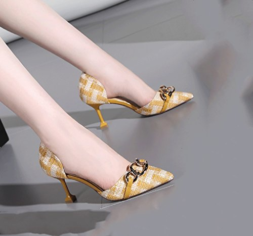 Female Size Sandals Yellow Heels Mouth 35 Color Sexy Sexy Wedding Heel Toe Shallow Shoes High Stiletto Vintage Summer Pointed dnqxYfTdAw