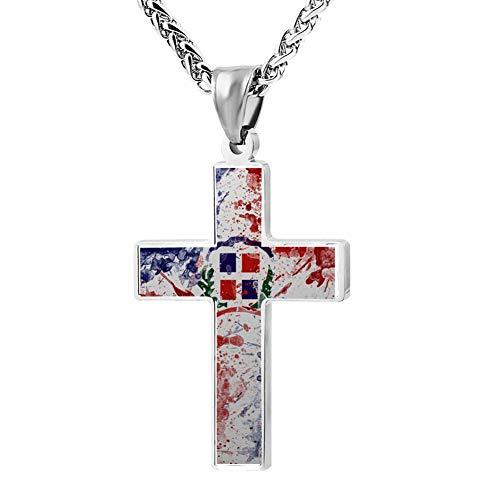 Wanperd Custom Dominican Flag Cross Pendant Necklace Zinc Alloy Necklace Christian Religious Jewelry for Men/Women