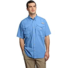 Columbia Men's Bonehead Short-Sleeve Work Shirt, White Cap Blue, Large