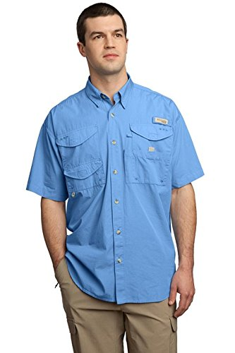 Columbia Men's Bonehead Short-Sleeve Work Shirt, White Cap Blue, Large Bonehead Short Sleeve Shirt