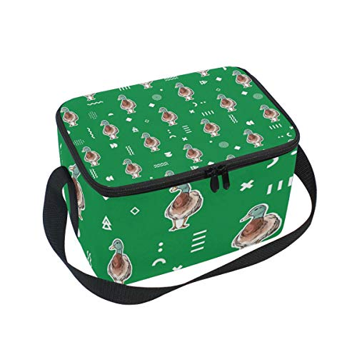 Lunch Bag Watercolour Duck, Large Insulated Cooler Box with Shoulder Strap for School Office