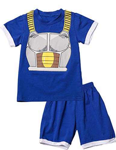 Mutiggee Little Boy Vegeta Costume Funny Short Set (Blue,3T)]()