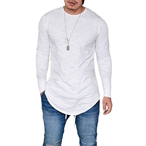 GUCHIS Men's Round Neck Slim Long Sleeve Hip Hop Curved Hem Cotton T-Shirt Hipster for Casual Club Boys Teenagers - Jeans Long Leather Sleeve