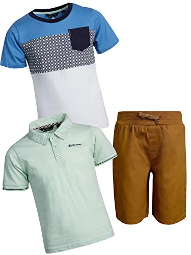 Ben Sherman Little Boys and Toddler 3-Piece Polo, T-Shirt, and Short Set, Rust/Grey/Blue, Size 3T'